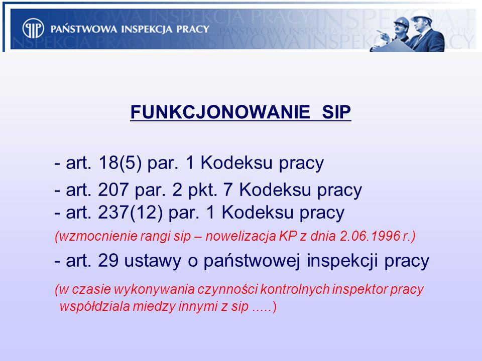 FUNKCJONOWANIE SIP - art. 18(5) par. 1 Kodeksu pracy - art. 207 par. 2 pkt. 7 Kodeksu pracy - art. 237(12) par. 1 Kodeksu pracy (wzmocnienie rangi sip