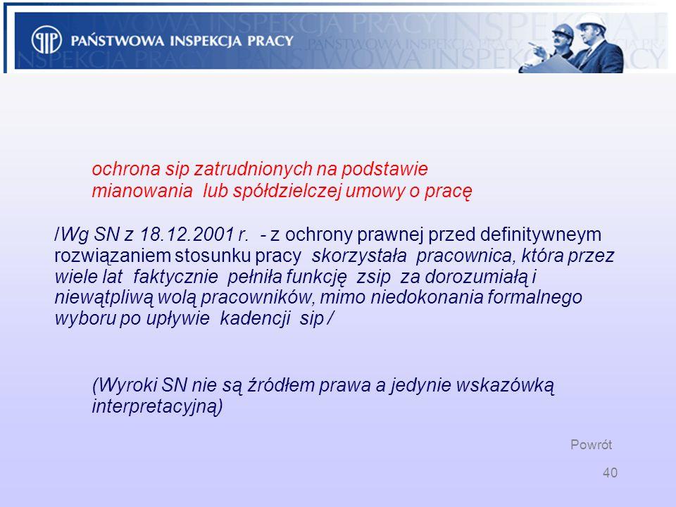 40 ochrona sip zatrudnionych na podstawie mianowania lub spółdzielczej umowy o pracę /Wg SN z 18.12.2001 r. - z ochrony prawnej przed definitywneym ro
