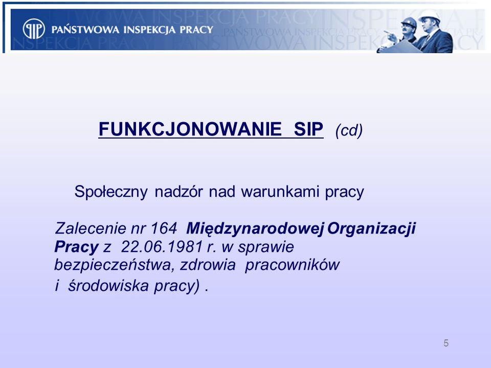 5 FUNKCJONOWANIE SIP (cd) Społeczny nadzór nad warunkami pracy Zalecenie nr 164 Międzynarodowej Organizacji Pracy z 22.06.1981 r. w sprawie bezpieczeń