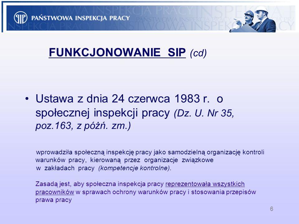 6 FUNKCJONOWANIE SIP (cd) Ustawa z dnia 24 czerwca 1983 r. o społecznej inspekcji pracy (Dz. U. Nr 35, poz.163, z póżń. zm.) wprowadziła społeczną ins