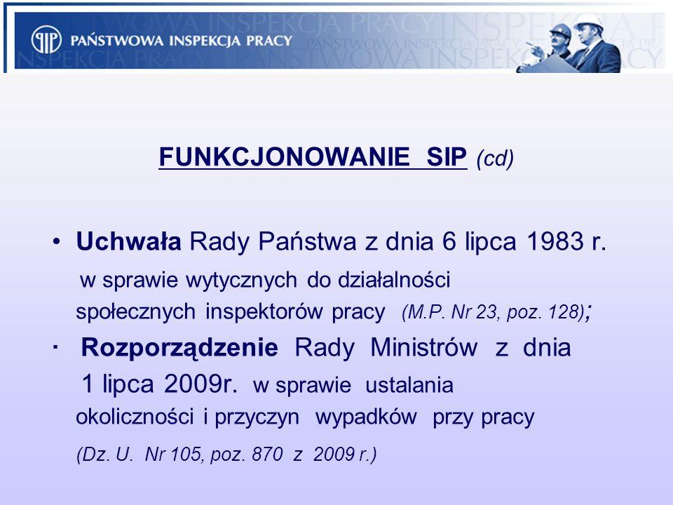 FUNKCJONOWANIE SIP (cd) Uchwała Rady Państwa z dnia 6 lipca 1983 r. w sprawie wytycznych do działalności społecznych inspektorów pracy (M.P. Nr 23, po