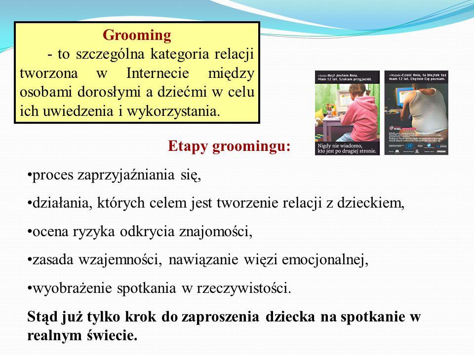 Etapy groomingu: proces zaprzyjaźniania się, działania, których celem jest tworzenie relacji z dzieckiem, ocena ryzyka odkrycia znajomości, zasada wza