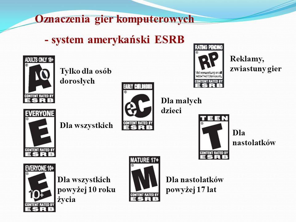 Oznaczenia gier komputerowych - system amerykański ESRB Tylko dla osób dorosłych Dla wszystkich Dla wszystkich powyżej 10 roku życia Dla małych dzieci