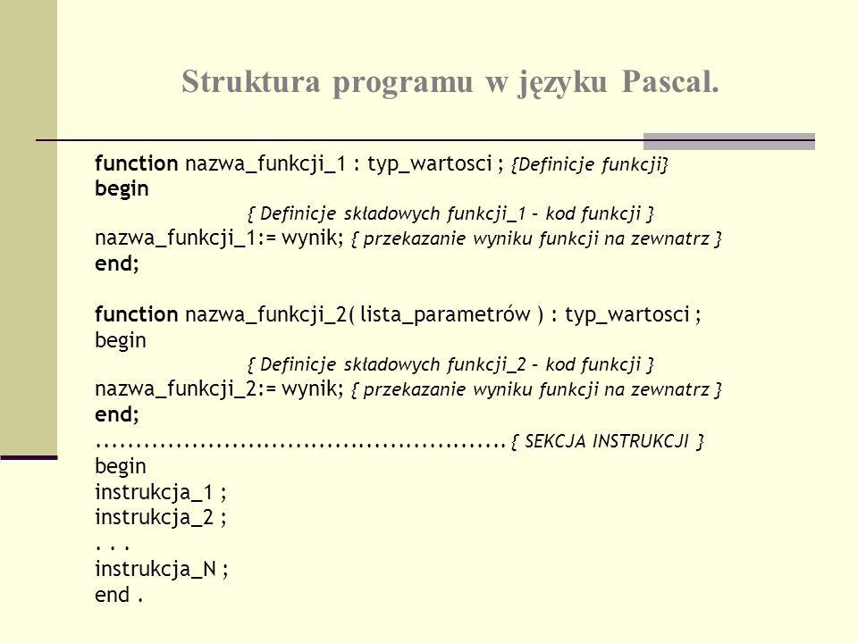 Struktura programu w języku Pascal. function nazwa_funkcji_1 : typ_wartosci ; {Definicje funkcji} begin { Definicje składowych funkcji_1 – kod funkcji