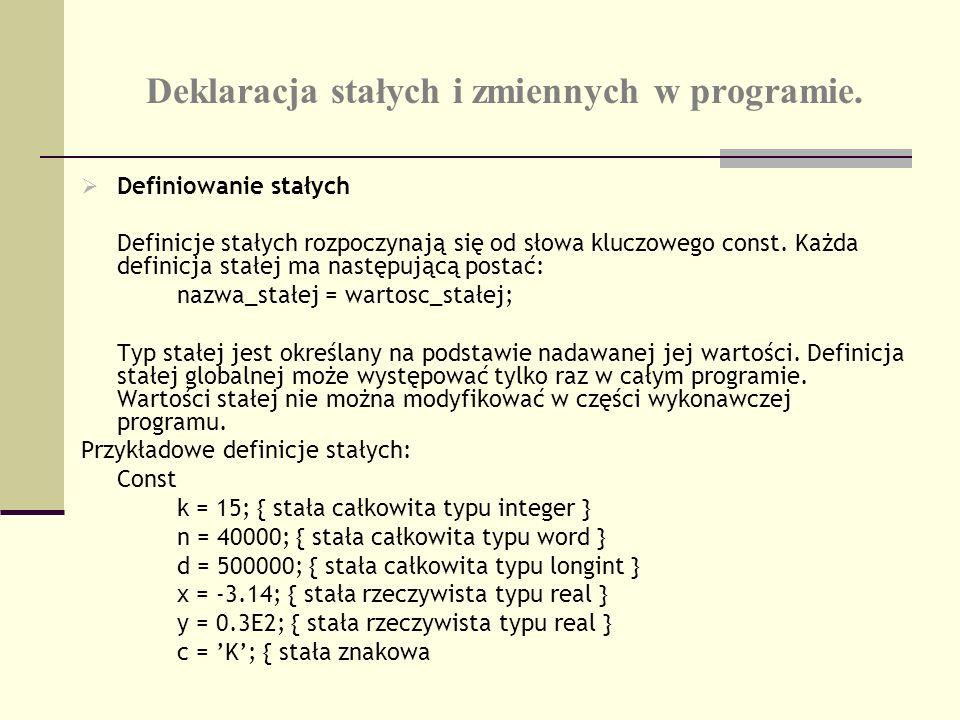 Deklaracja stałych i zmiennych w programie. Definiowanie stałych Definicje stałych rozpoczynają się od słowa kluczowego const. Każda definicja stałej
