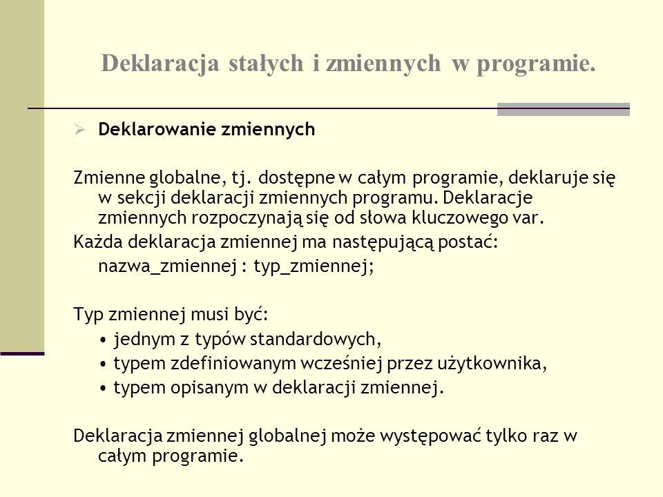 Deklaracja stałych i zmiennych w programie. Deklarowanie zmiennych Zmienne globalne, tj. dostępne w całym programie, deklaruje się w sekcji deklaracji