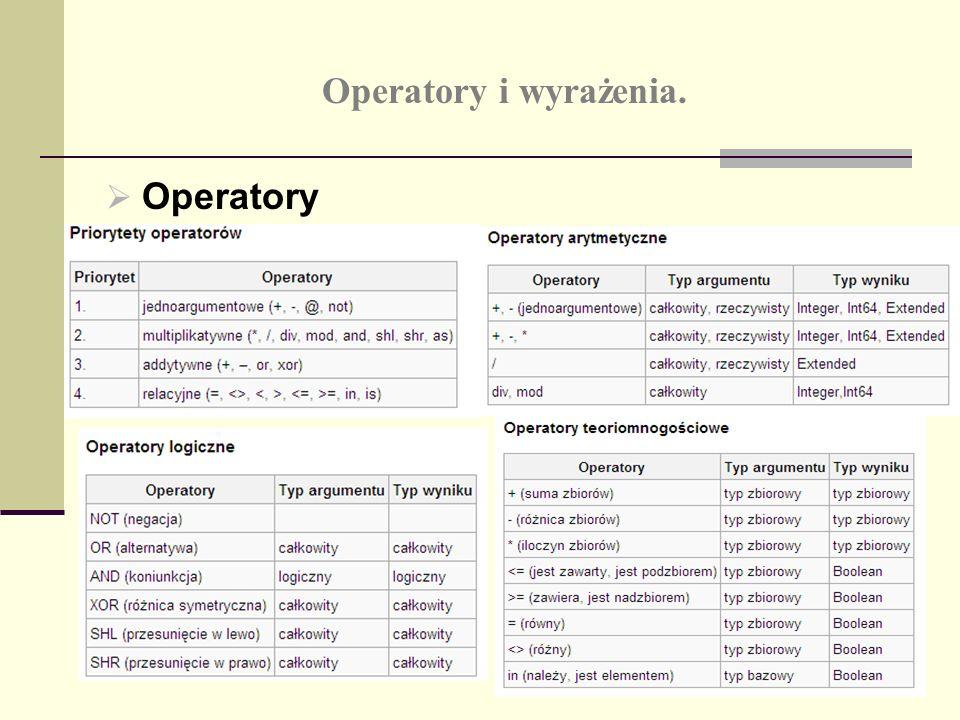 Operatory i wyrażenia. Operatory
