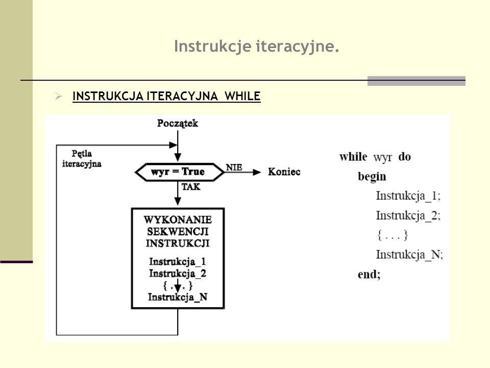 Instrukcje iteracyjne. INSTRUKCJA ITERACYJNA WHILE