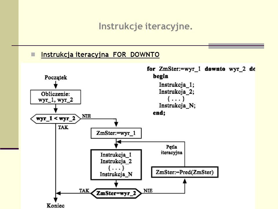 Instrukcje iteracyjne. Instrukcja iteracyjna FOR DOWNTO