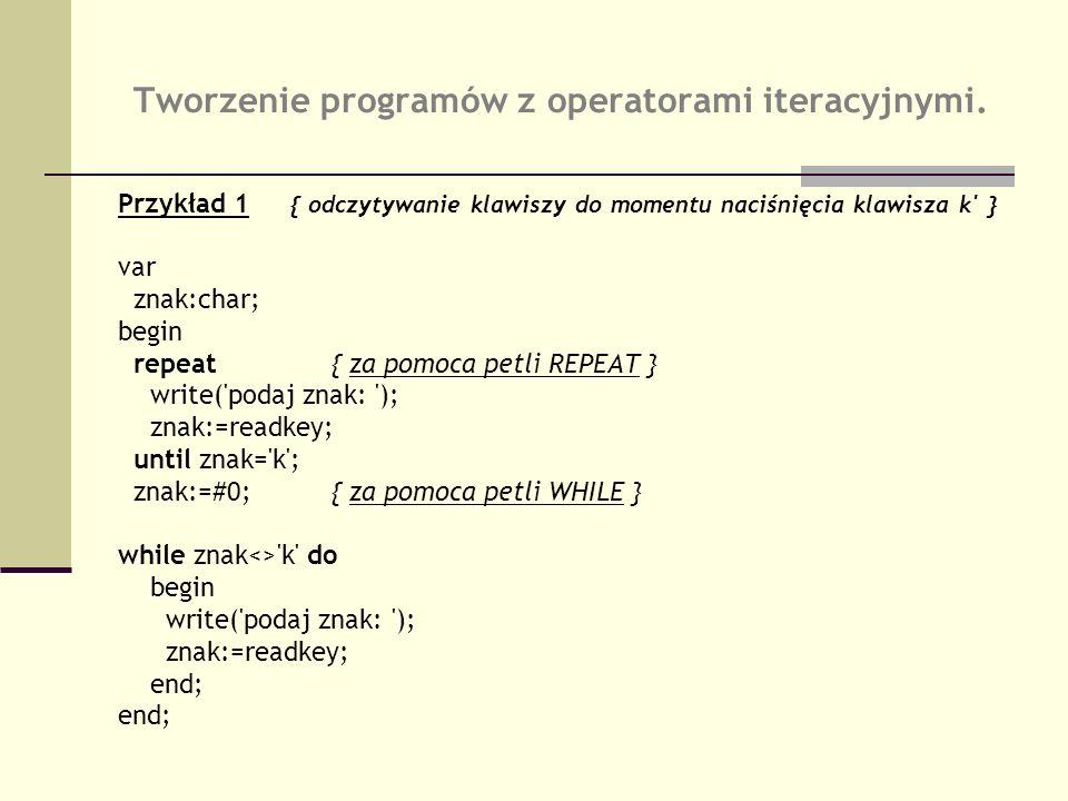 Tworzenie programów z operatorami iteracyjnymi. Przykład 1 { odczytywanie klawiszy do momentu naciśnięcia klawisza k' } var znak:char; begin repeat{ z