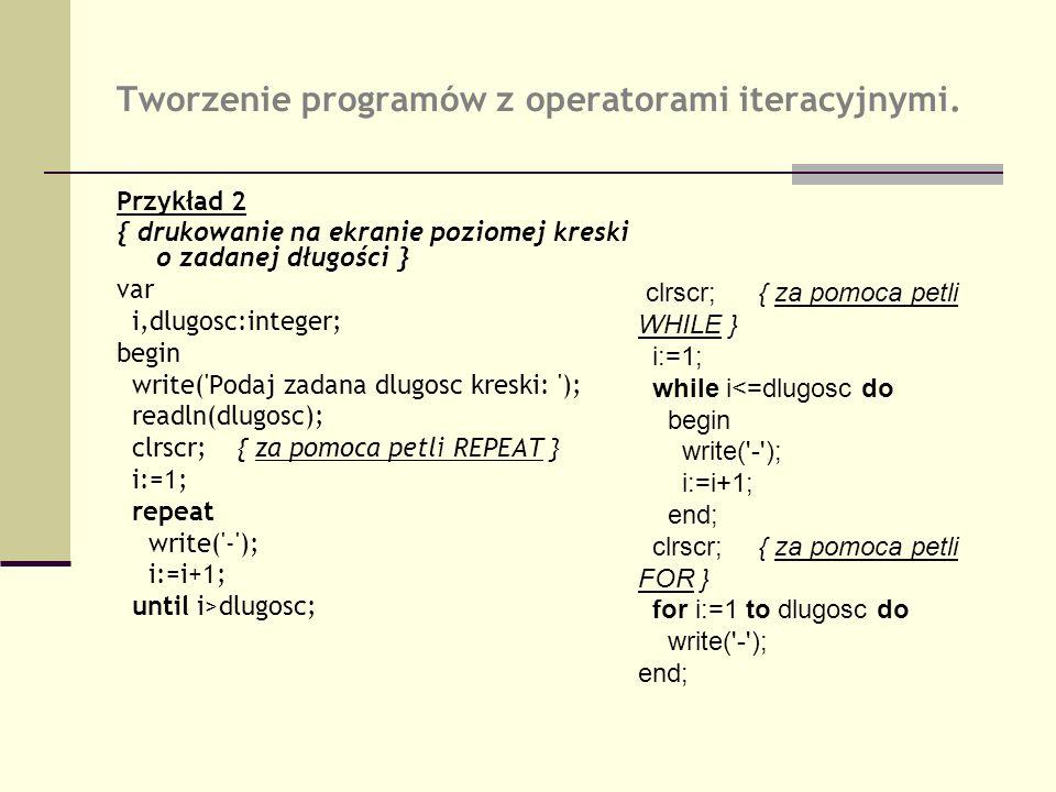 Tworzenie programów z operatorami iteracyjnymi. Przykład 2 { drukowanie na ekranie poziomej kreski o zadanej długości } var i,dlugosc:integer; begin w