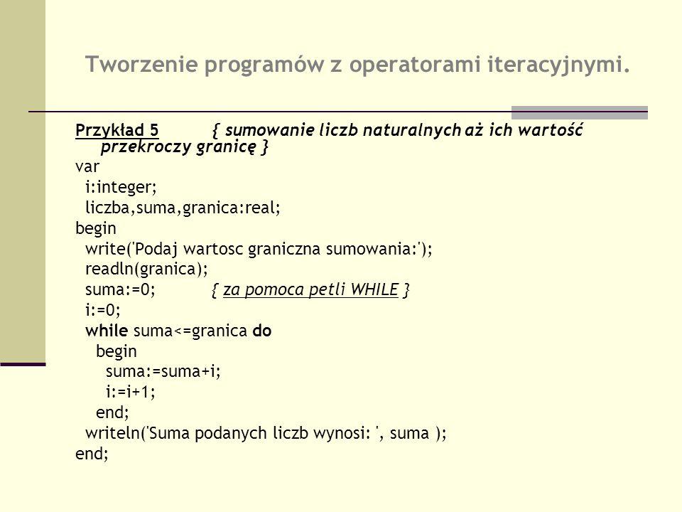 Tworzenie programów z operatorami iteracyjnymi. Przykład 5{ sumowanie liczb naturalnych aż ich wartość przekroczy granicę } var i:integer; liczba,suma