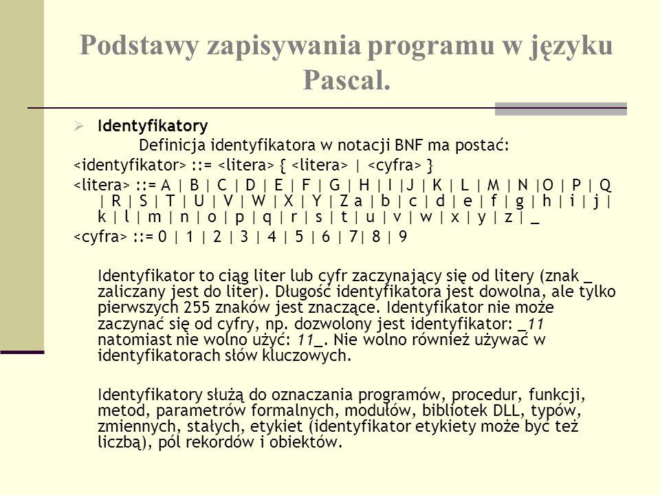 Podstawy zapisywania programu w języku Pascal. Identyfikatory Definicja identyfikatora w notacji BNF ma postać: ::= { | } ::= A | B | C | D | E | F |