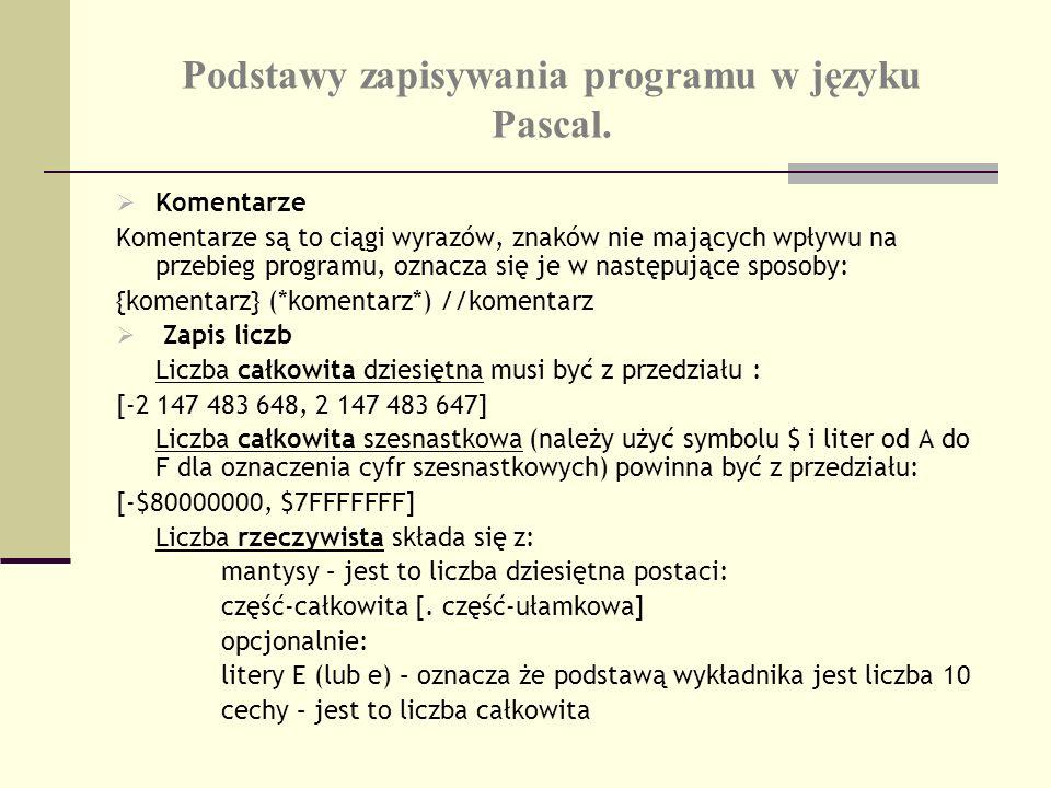 Podstawy zapisywania programu w języku Pascal. Komentarze Komentarze są to ciągi wyrazów, znaków nie mających wpływu na przebieg programu, oznacza się