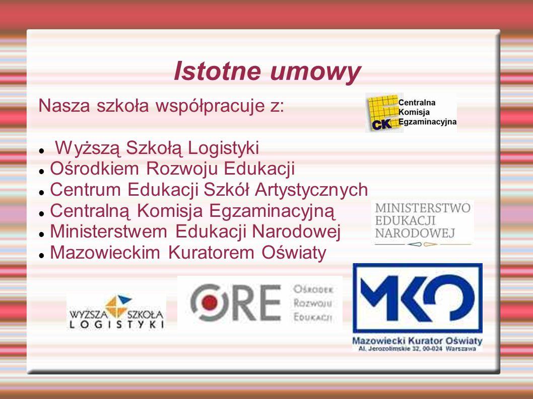 Istotne umowy Nasza szkoła współpracuje z: Wyższą Szkołą Logistyki Ośrodkiem Rozwoju Edukacji Centrum Edukacji Szkół Artystycznych Centralną Komisja E