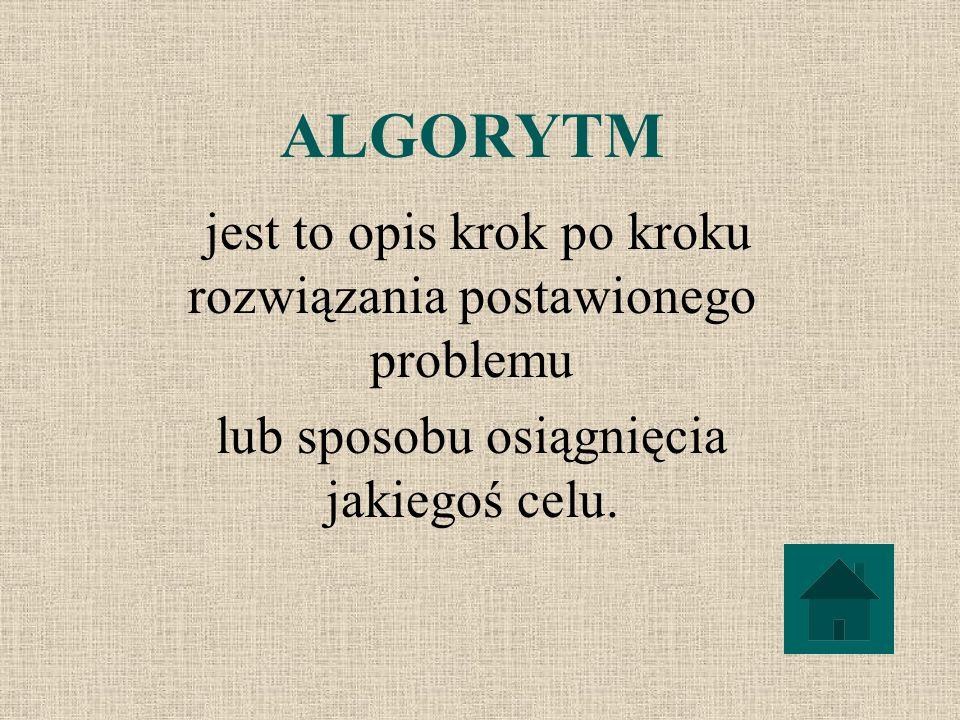 ALGORYTM jest to opis krok po kroku rozwiązania postawionego problemu lub sposobu osiągnięcia jakiegoś celu.