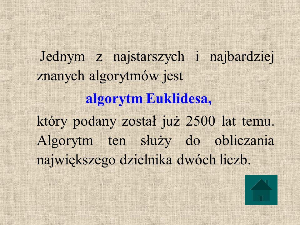 Jednym z najstarszych i najbardziej znanych algorytmów jest algorytm Euklidesa, który podany został już 2500 lat temu.