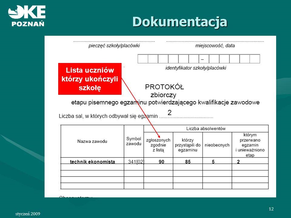 styczeń 2009 13 Protokół zbiorczy etapu pisemnego zawiera: Załączniki: 1.