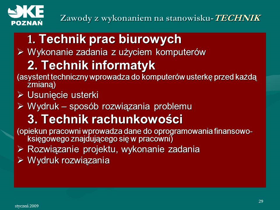 styczeń 2009 30 Zawody z wykonaniem na stanowisku- TECHNIK 4.