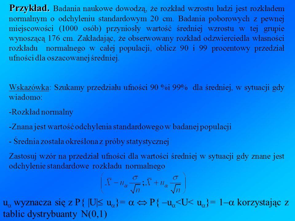 Przykład. Przykład. Badania naukowe dowodzą, że rozkład wzrostu ludzi jest rozkładem normalnym o odchyleniu standardowym 20 cm. Badania poborowych z p