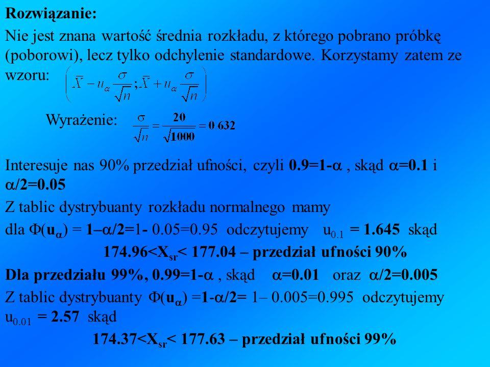 Rozwiązanie: Nie jest znana wartość średnia rozkładu, z którego pobrano próbkę (poborowi), lecz tylko odchylenie standardowe. Korzystamy zatem ze wzor