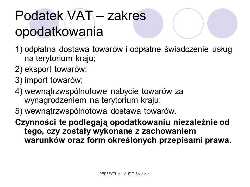 Podatek VAT PERFECTUM - AUDIT Sp. z o.o.