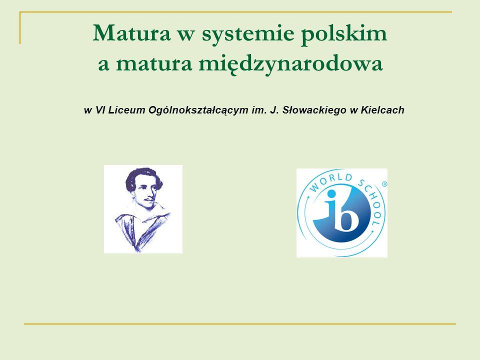 Matura w systemie polskim a matura międzynarodowa w VI Liceum Ogólnokształcącym im. J. Słowackiego w Kielcach