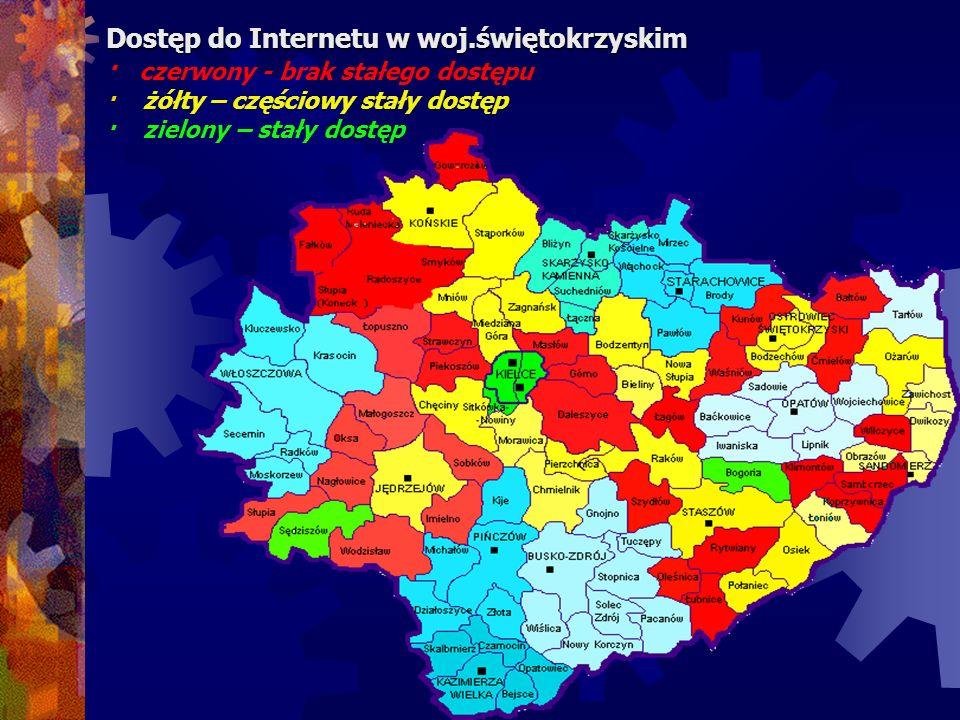 Dostęp do Internetu w woj.świętokrzyskim Dostęp do Internetu w woj.świętokrzyskim · czerwony - brak stałego dostępu · żółty – częściowy stały dostęp ·