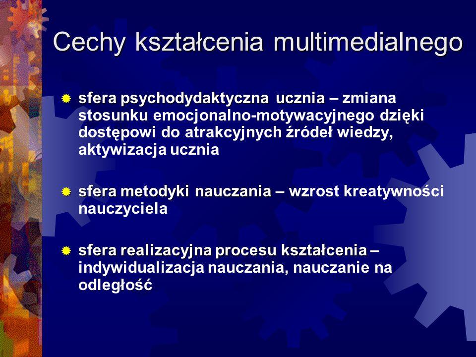 Cechy kształcenia multimedialnego sfera psychodydaktyczna ucznia sfera psychodydaktyczna ucznia – zmiana stosunku emocjonalno-motywacyjnego dzięki dos