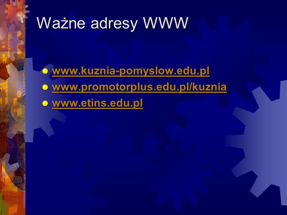 Ważne adresy WWW www.kuznia-pomyslow.edu.pl www.kuznia-pomyslow.edu.pl www.kuznia-pomyslow.edu.pl www.promotorplus.edu.pl/kuznia www.promotorplus.edu.