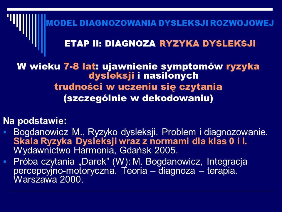 MODEL DIAGNOZOWANIA DYSLEKSJI ROZWOJOWEJ ETAP II: DIAGNOZA RYZYKA DYSLEKSJI W wieku 7-8 lat: ujawnienie symptomów ryzyka dysleksji i nasilonych trudno