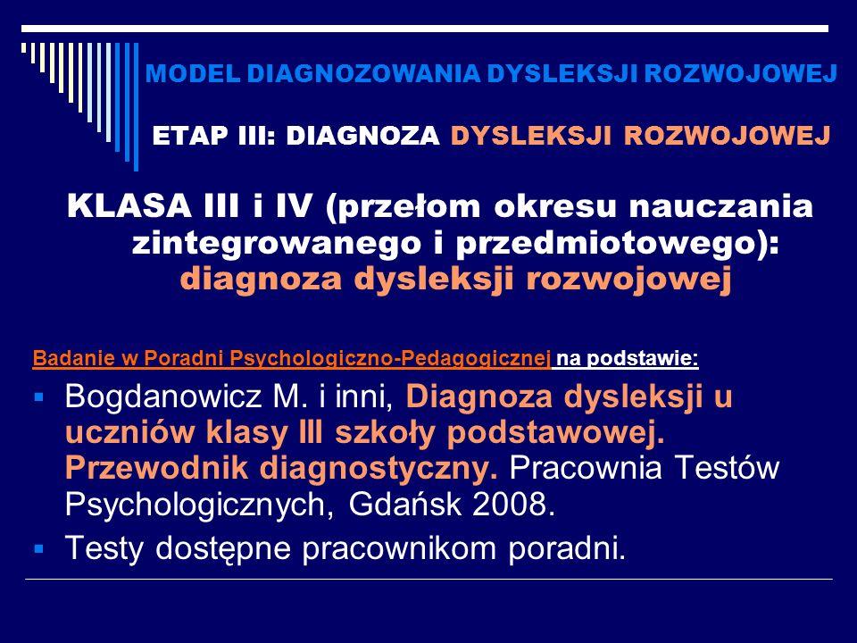 MODEL DIAGNOZOWANIA DYSLEKSJI ROZWOJOWEJ ETAP III: DIAGNOZA DYSLEKSJI ROZWOJOWEJ KLASA III i IV (przełom okresu nauczania zintegrowanego i przedmiotow