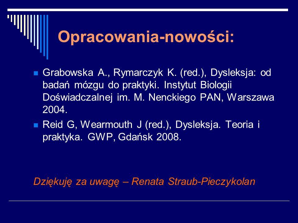 Opracowania-nowości: Grabowska A., Rymarczyk K. (red.), Dysleksja: od badań mózgu do praktyki. Instytut Biologii Doświadczalnej im. M. Nenckiego PAN,