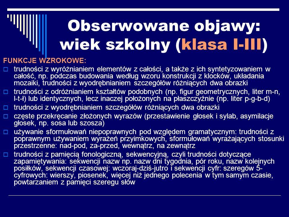 Wykorzystana literatura: Bogdanowicz M., Integracja percepcyjno-motoryczna.