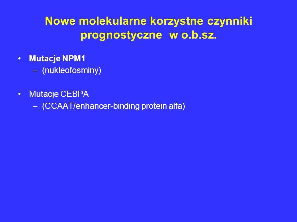 Nowe molekularne korzystne czynniki prognostyczne w o.b.sz. Mutacje NPM1 –(nukleofosminy) Mutacje CEBPA –(CCAAT/enhancer-binding protein alfa)