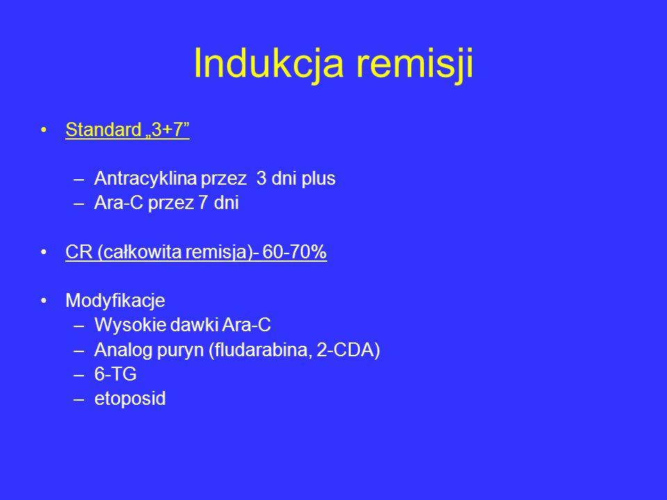 Indukcja remisji Standard 3+7 –Antracyklina przez 3 dni plus –Ara-C przez 7 dni CR (całkowita remisja)- 60-70% Modyfikacje –Wysokie dawki Ara-C –Analo