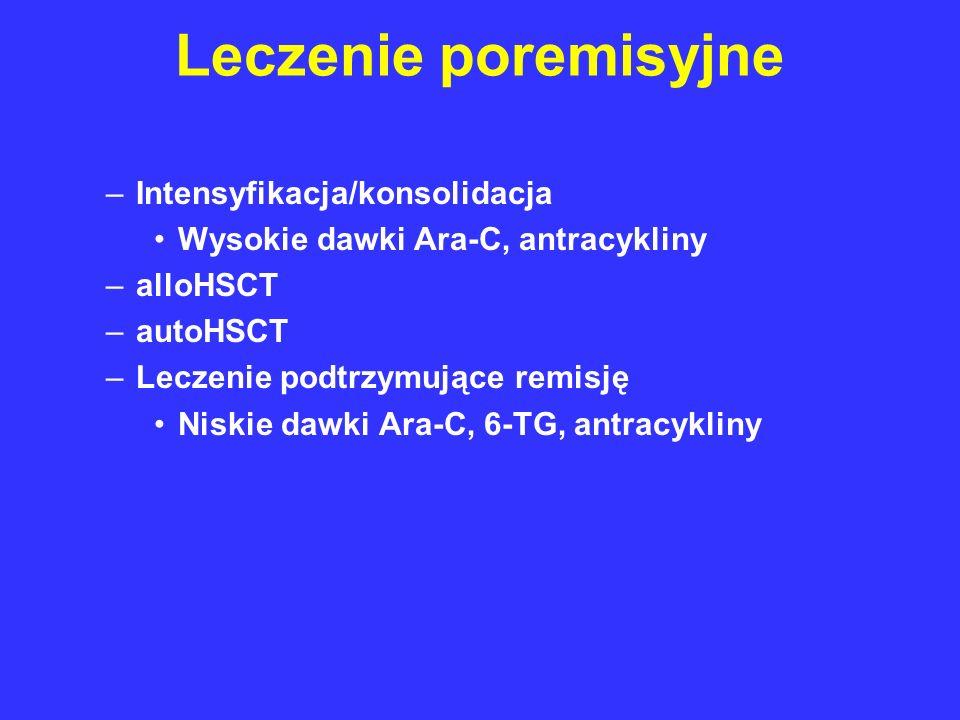 Leczenie poremisyjne –Intensyfikacja/konsolidacja Wysokie dawki Ara-C, antracykliny –alloHSCT –autoHSCT –Leczenie podtrzymujące remisję Niskie dawki A