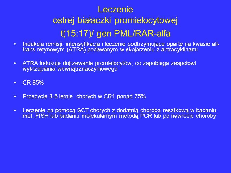 Leczenie ostrej białaczki promielocytowej t(15:17)/ gen PML/RAR-alfa Indukcja remisji, intensyfikacja i leczenie podtrzymujące oparte na kwasie all- t