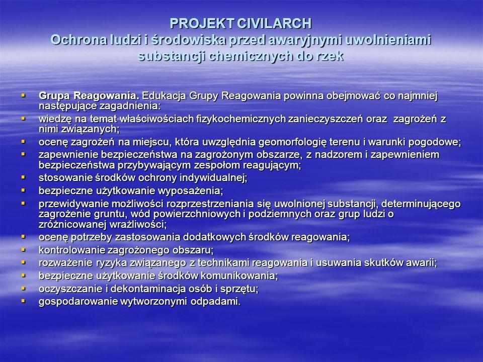 PROJEKT CIVILARCH Ochrona ludzi i środowiska przed awaryjnymi uwolnieniami substancji chemicznych do rzek Grupa Reagowania. Edukacja Grupy Reagowania