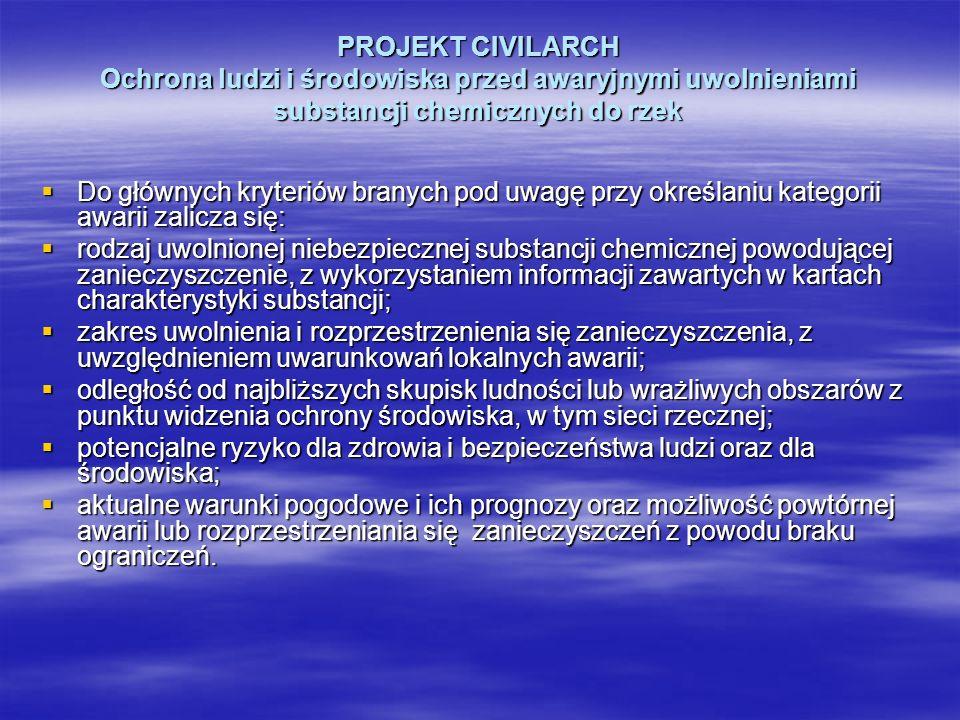 PROJEKT CIVILARCH Ochrona ludzi i środowiska przed awaryjnymi uwolnieniami substancji chemicznych do rzek Do głównych kryteriów branych pod uwagę przy