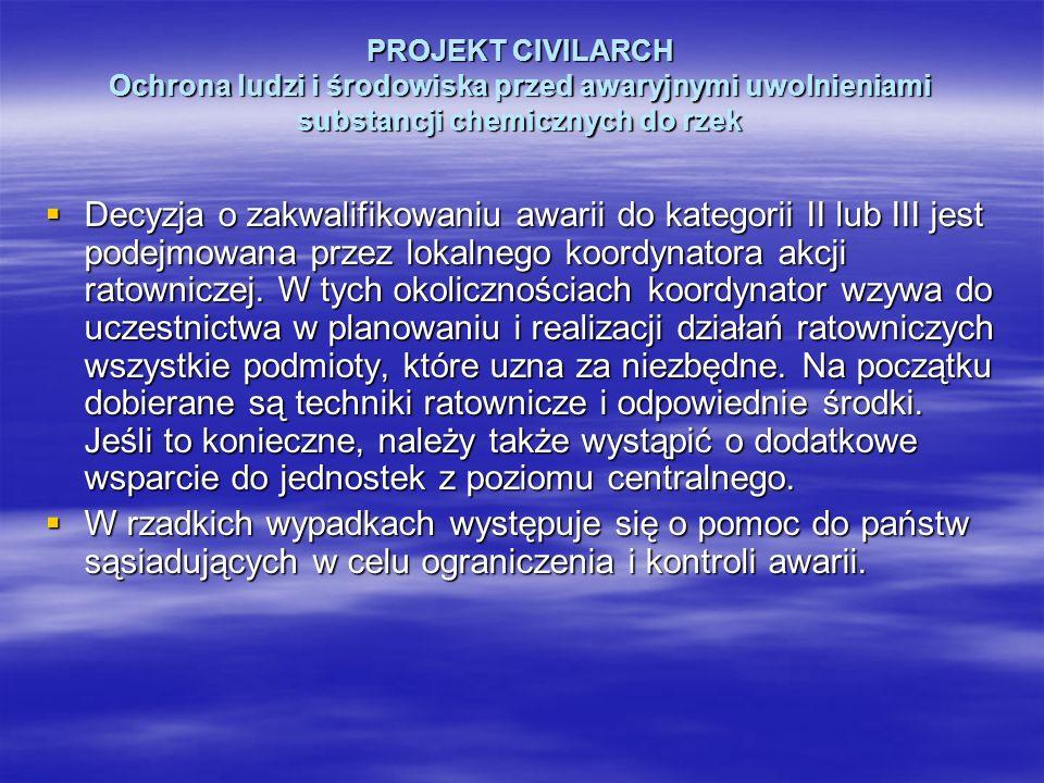PROJEKT CIVILARCH Ochrona ludzi i środowiska przed awaryjnymi uwolnieniami substancji chemicznych do rzek Decyzja o zakwalifikowaniu awarii do kategor