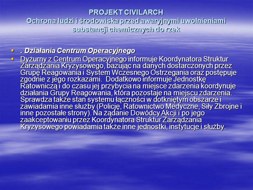 PROJEKT CIVILARCH Ochrona ludzi i środowiska przed awaryjnymi uwolnieniami substancji chemicznych do rzek. Działania Centrum Operacyjnego. Działania C