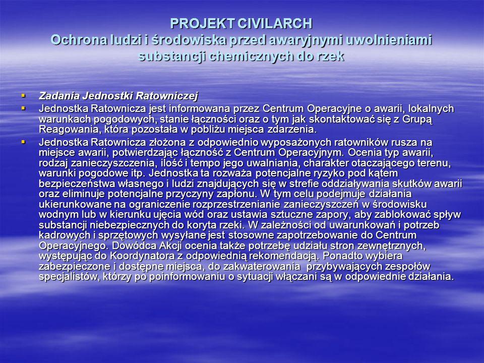 PROJEKT CIVILARCH Ochrona ludzi i środowiska przed awaryjnymi uwolnieniami substancji chemicznych do rzek Zadania Jednostki Ratowniczej Zadania Jednos
