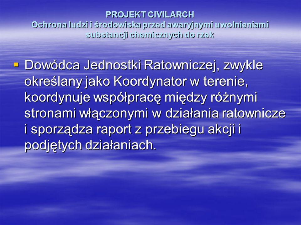 PROJEKT CIVILARCH Ochrona ludzi i środowiska przed awaryjnymi uwolnieniami substancji chemicznych do rzek Dowódca Jednostki Ratowniczej, zwykle określ