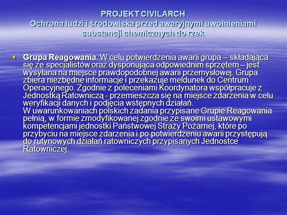 PROJEKT CIVILARCH Ochrona ludzi i środowiska przed awaryjnymi uwolnieniami substancji chemicznych do rzek Grupa Reagowania. W celu potwierdzenia awari
