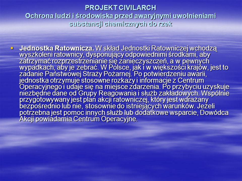 PROJEKT CIVILARCH Ochrona ludzi i środowiska przed awaryjnymi uwolnieniami substancji chemicznych do rzek Jednostka Ratownicza. W skład Jednostki Rato