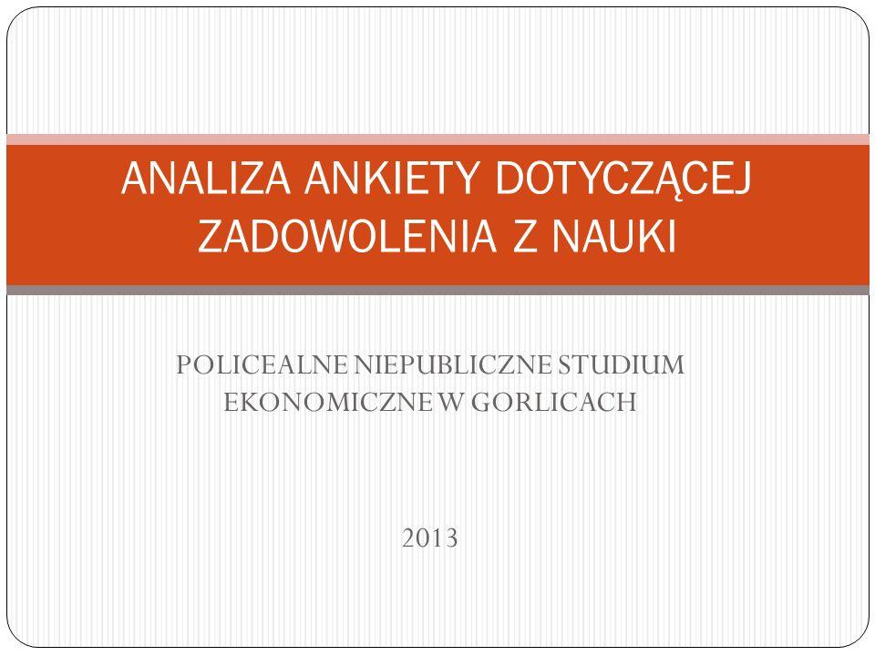 POLICEALNE NIEPUBLICZNE STUDIUM EKONOMICZNE W GORLICACH 2013 ANALIZA ANKIETY DOTYCZĄCEJ ZADOWOLENIA Z NAUKI