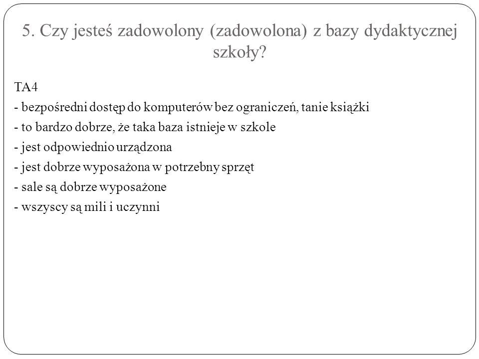 5. Czy jesteś zadowolony (zadowolona) z bazy dydaktycznej szkoły.