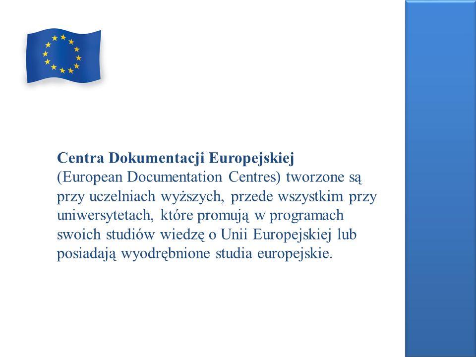 Centra Dokumentacji Europejskiej w zależności od tego, czy otrzymują wszystkie materiały Wspólnot Europejskich, czy tylko pewien ich wybór mają status: ośrodka pełnego (full of EDC); otrzymują komplet wydawnictw, ośrodka wyspecjalizowanego (specialized of EDC); otrzymują publikacje odnoszące się do określonych dziedzin.