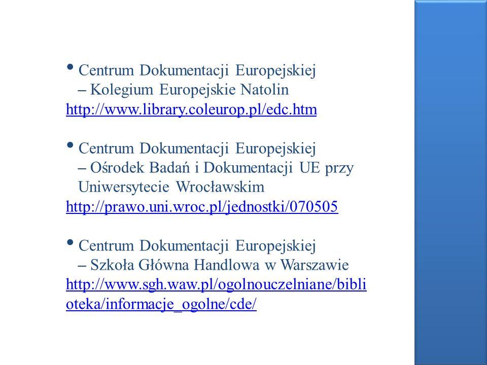 Centrum Dokumentacji Europejskiej – Kolegium Europejskie Natolin http://www.library.coleurop.pl/edc.htm http://www.library.coleurop.pl/edc.htm Centrum